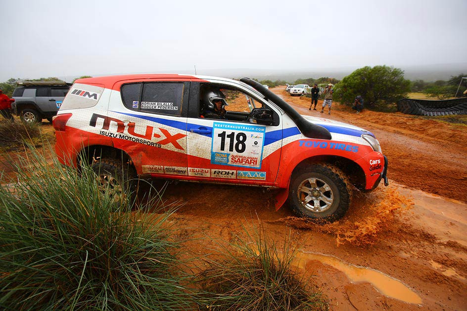 The Isuzu Rally Team MU-X runs ROH Terrain alloy wheels for top reliability.