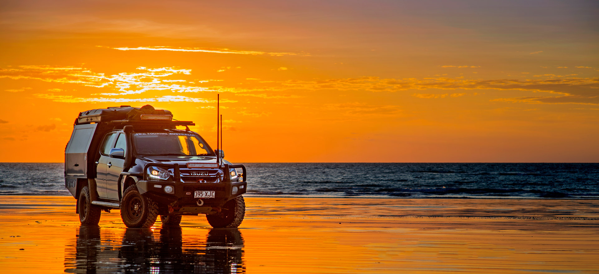Blak Trak Steel wheels on 4WD Touring D-Max at Sunset on