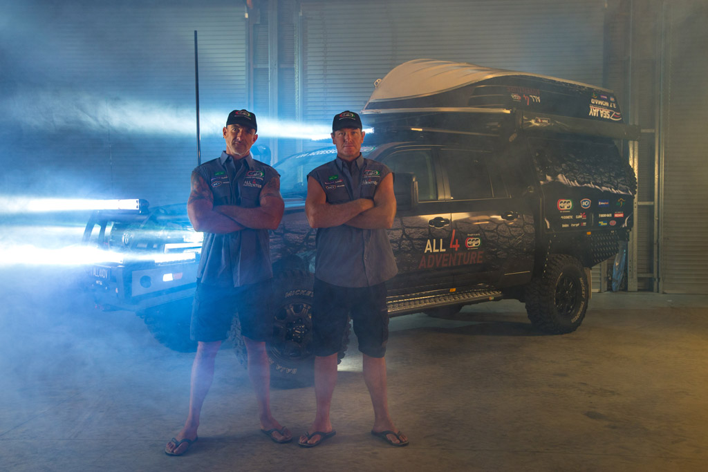 Jase and Simon in front of All 4 Adventure Land Cruiser 200 Series with Black Octagon 4x4 wheels