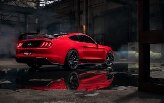 RF4 flow forged wheel on Mustang red Hero Rear header