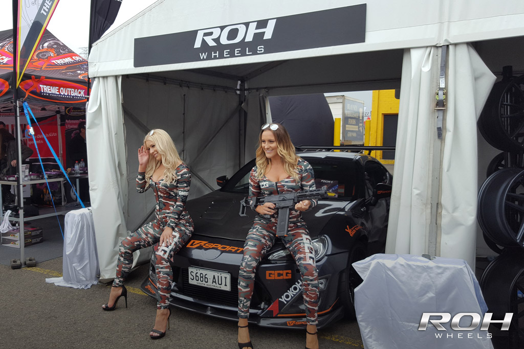 Girls sitting on bonnet of ROH Wheels Toyota 86