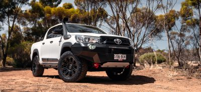 ROH Hostile flow forged wheel on white Toyota HiLux hero shot
