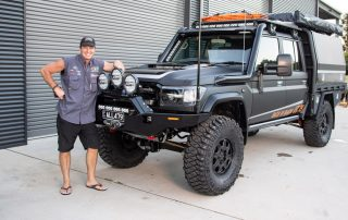 Jase in front of All479 with Black Octagon Wheels on Toyota Landcruiser 79 series