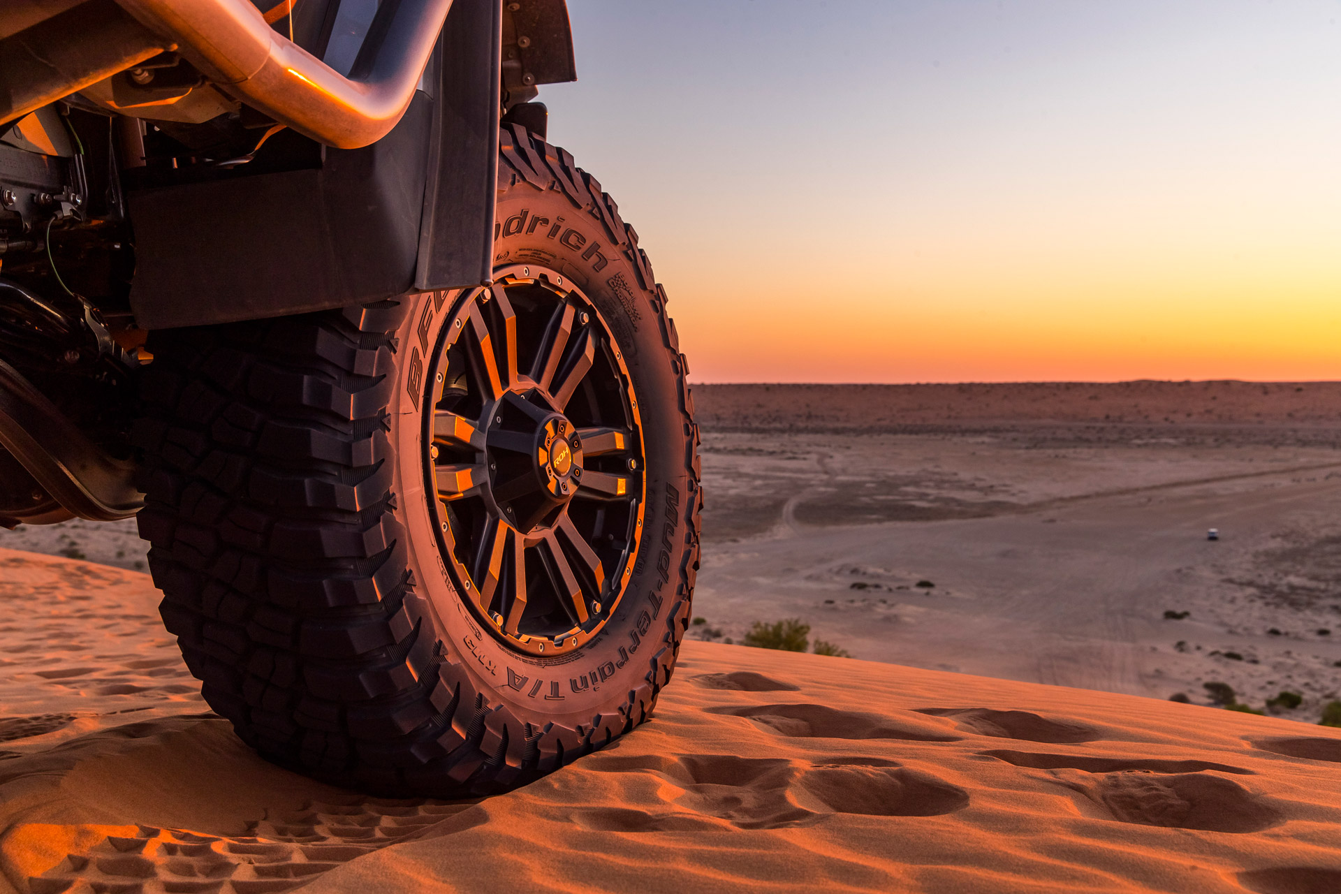 Vapour 4x4 wheel by ROH at sunset on sand in the desert