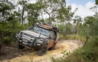 ROH Isuzu D-MAX offroad with wheel in air