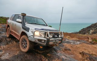 ROH Trophy wheel on LandCruiser 200 series in Cape York on rocks
