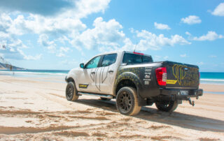 Navara 4x4 wheels on Whiteline NP300 on the beach