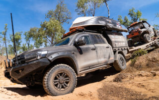 All 4 Adventure LandCruiser 200 Series offroad in scrub with Vapour wheels