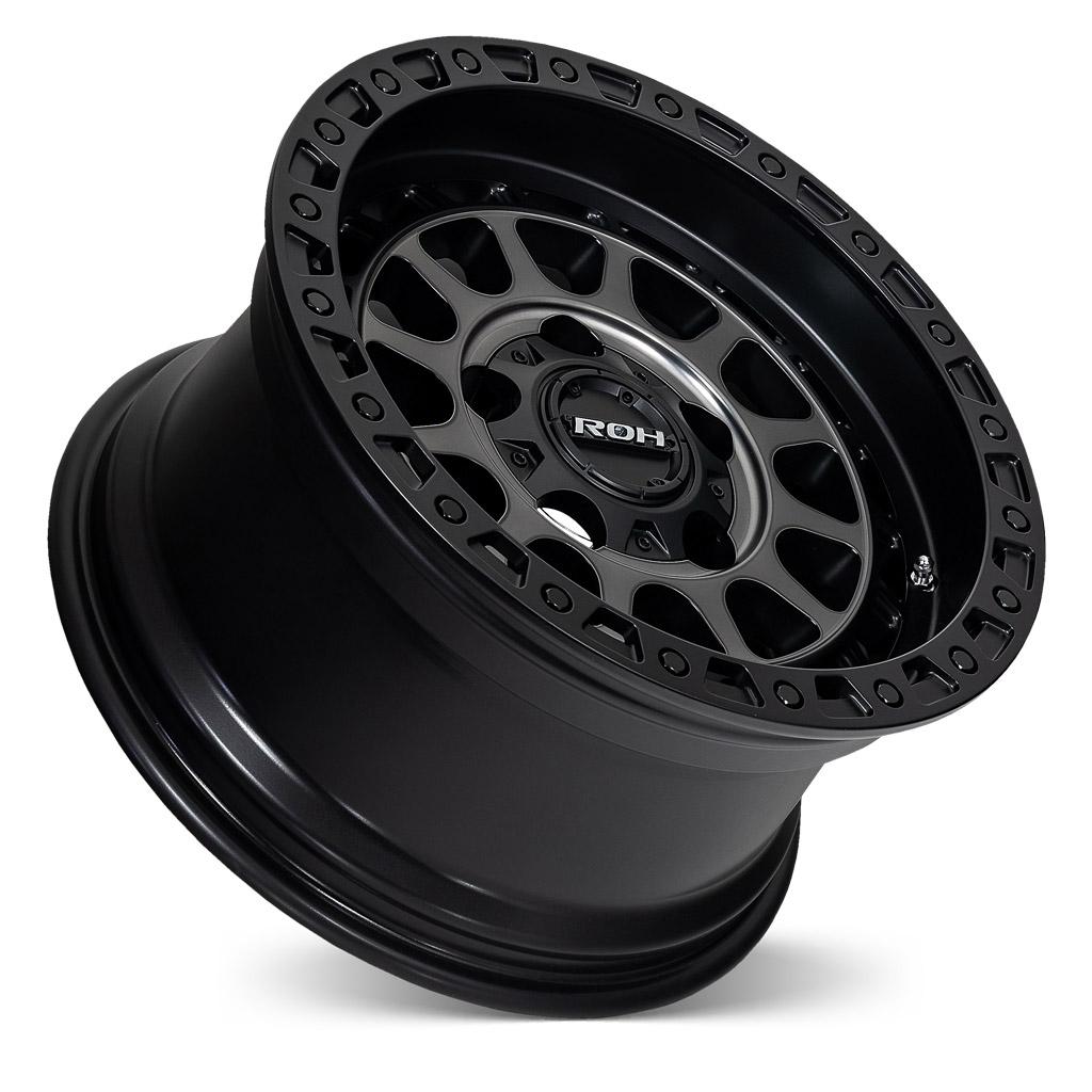 Assault matt black graphite face 4x4 wheel on concave angle