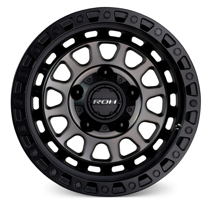 Assault matt black graphite face 4x4 wheel front view