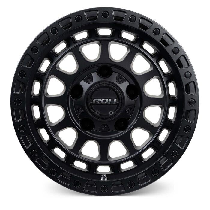 Assault matt black 4x4 wheel front view