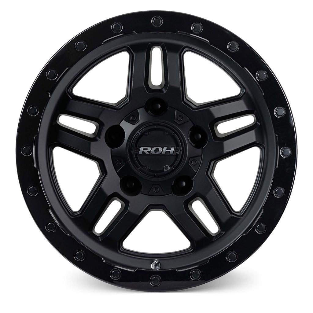 Hammer matt black with gloss lip 4x4 wheel front view