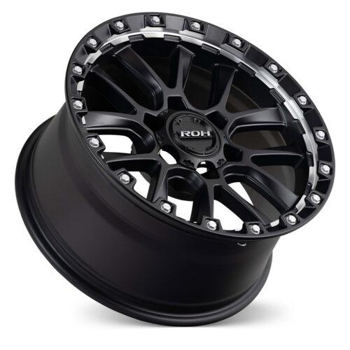Havoc matt black machined undercut 4x4 wheel on concave angle