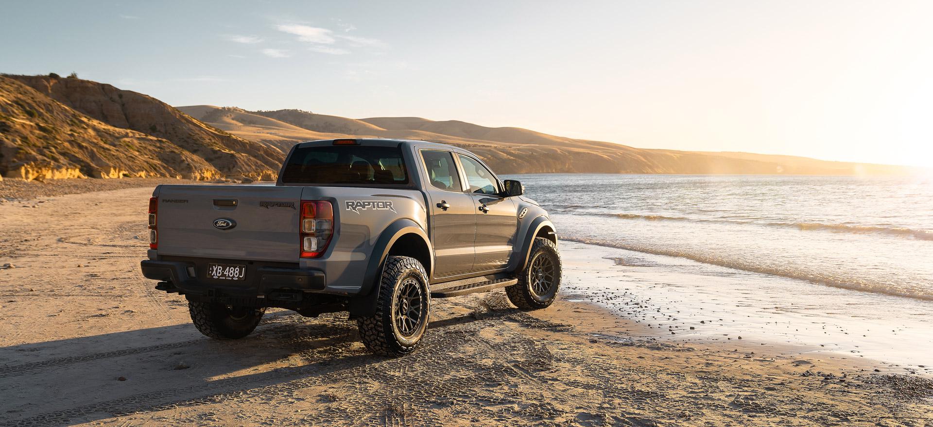 Crawler wheel on Ford Ranger Raptor feature beach sunset slide