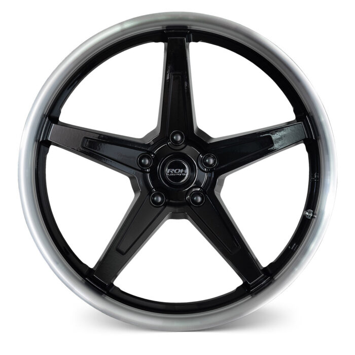 RF5 black machined lip flow forged rim front view
