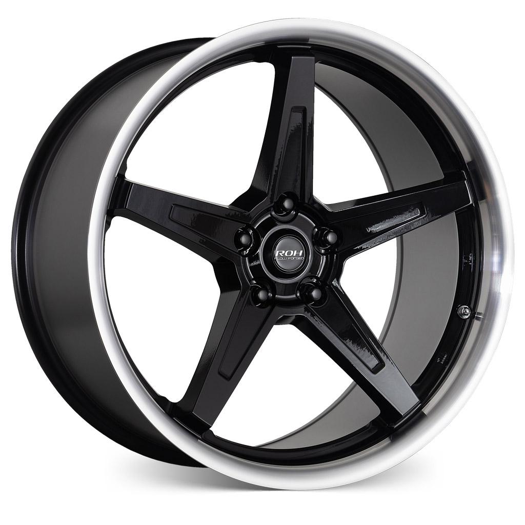 RF5 black machined lip flow forged alloy wheel