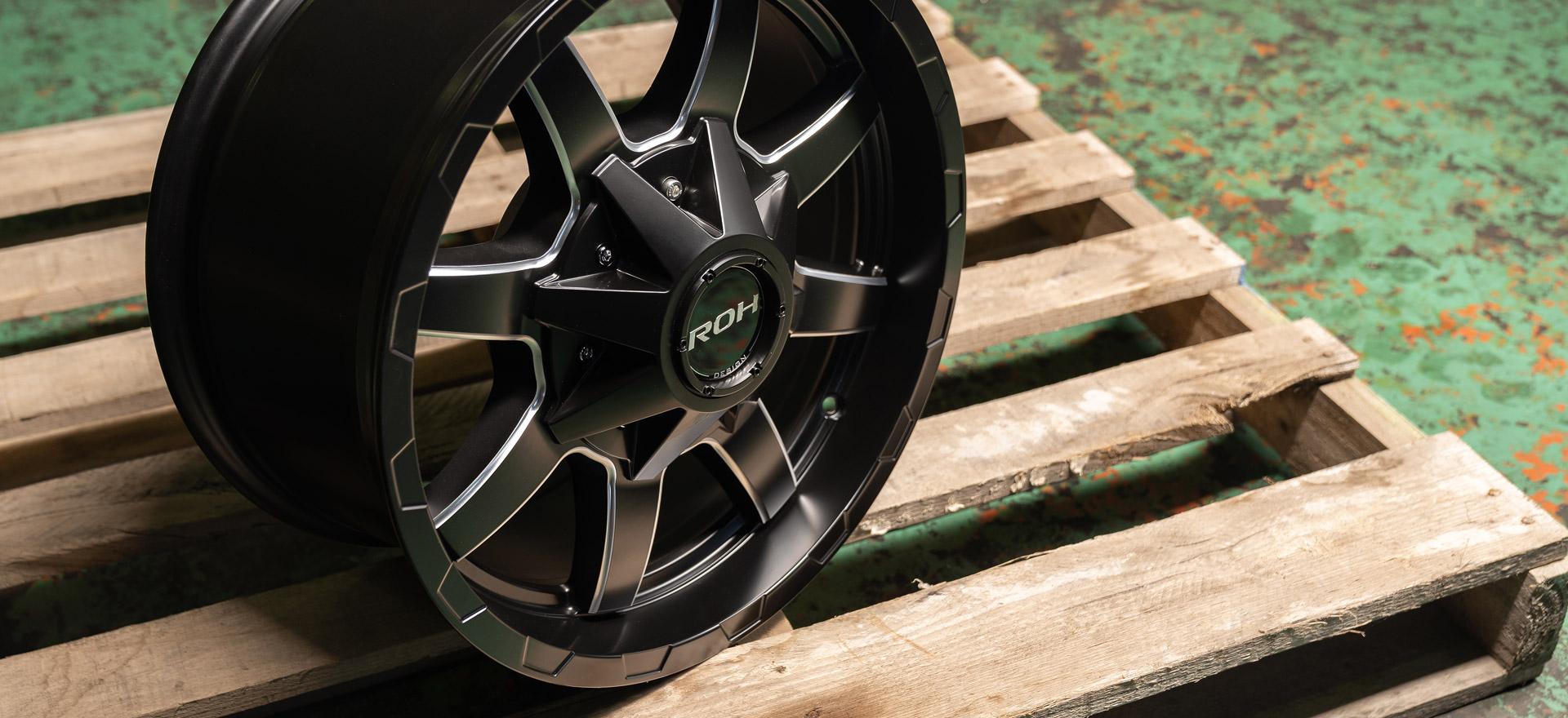 ROH Rhino alloy wheel on pallet