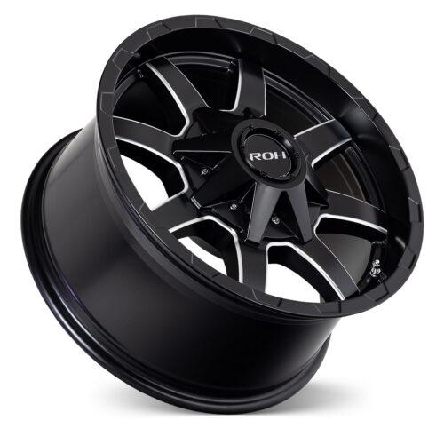 Rhino matt black milled 4x4 wheel on concave angle