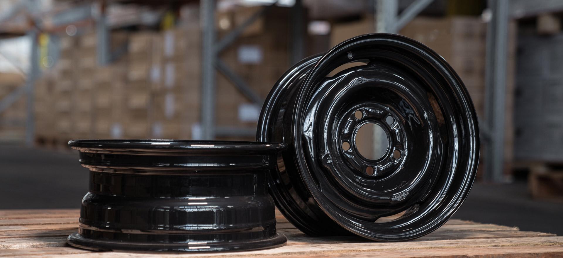 Caravan Black Steel Wheel in Warehouse